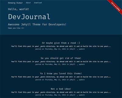 DevJournal Jekyll Themes & Templates