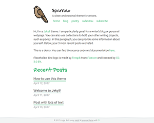 sparrow Jekyll Theme & Template